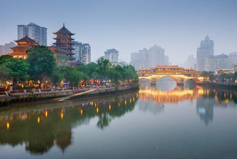 Bildquelle: Shutterstock. Chengdu Sichuan China Anshun Bridge