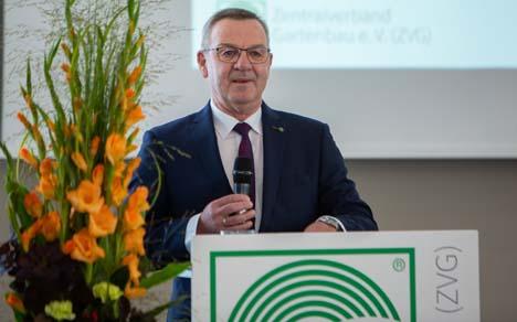 ZVG-Präsident Jürgen Mertz bei der Eröffnung der öffentlichen Mitgliederversammlung des ZVG. Foto ZVG