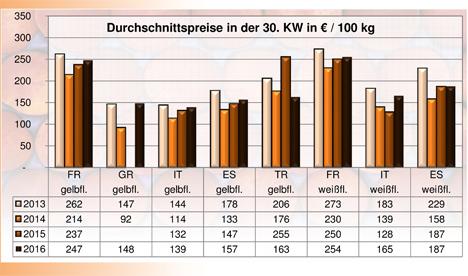 BLE-Marktbericht KW 30 / 16 Grafik Pfirsiche