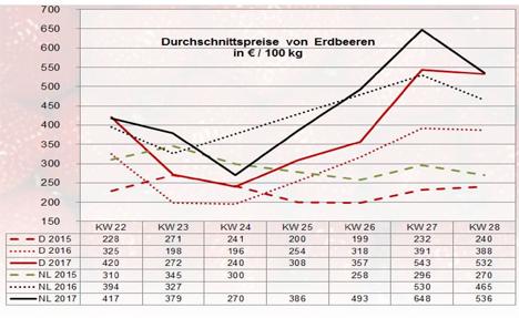 Grafik Erdbeeren BLE-Marktbericht KW 28 / 17