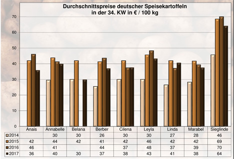 BLE-Kartoffelmarktbericht KW 34 / 17  Grafik
