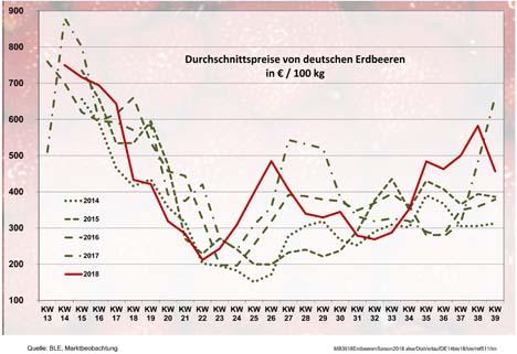 Grafik BLE-Marktbericht Erdbeeren KW 39