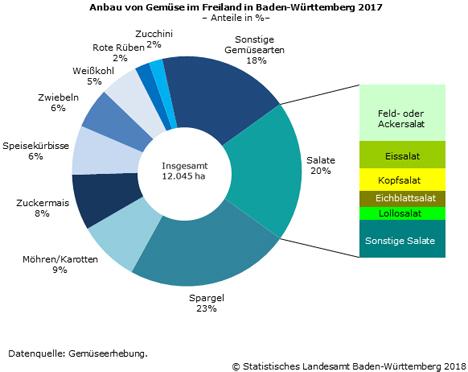 Schaubild 1: Anbau von Gemüse im Freiland in Baden-Württemberg 2017