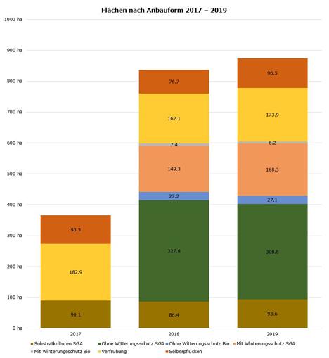Beeren-Anbaufläche 2017–2019 Grafik. Quelle: SOV