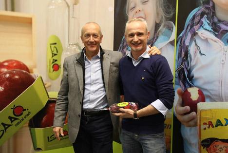 Die italienische New Entry Melinda mit 99% Bekanntheitsgrad, links CEO Paolo Gerevini (Melinda) rechts Jürgen Braun (KIKU).