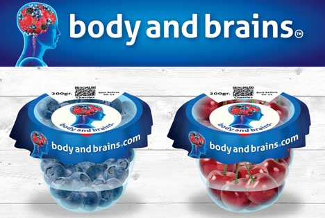 Body & Brains-Verpackung. Foto Body & Brains – Growers Packers Direct