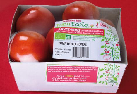 Kartonschale aus recycelten Tomatenpflanzen-Fasern. Quelle: Idyl sas
