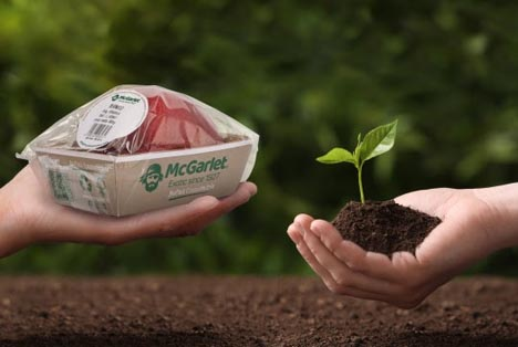 (Foto: Mit Biopac stellt McGarlet eine vollständig kompostierbare Verpackung vor.)