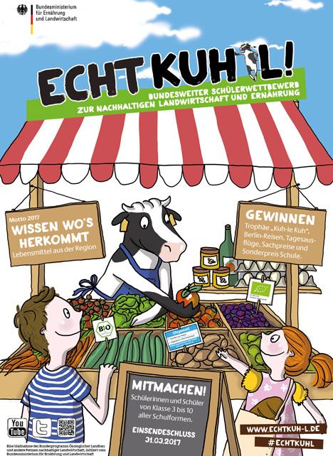 """Schülerwettbewerb """"ECHT KUH-L!"""" Plakat"""