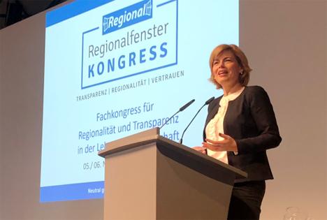 Bundesministerin Julia Klöckner - Fachkongress für Regionalität und Transparenz. Foto © BMEL
