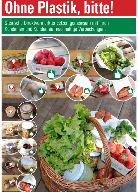 Plakat Plastikfrei gegenüberstellung. Quelle © Landwirtschaftskammer Steiermark