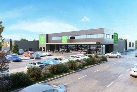 Außenansicht der neuen real Markthalle Balingen. Foto © real GmbH