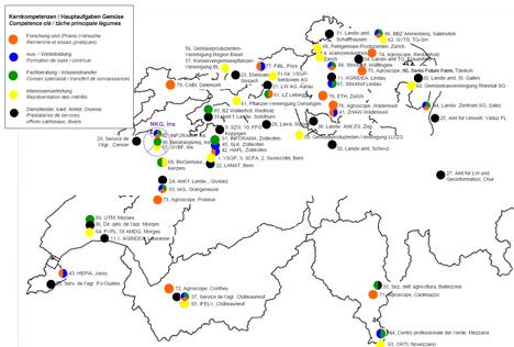 Landkarte - Nationales Kompetenznetzwerk Gemüse. Quelle SZG
