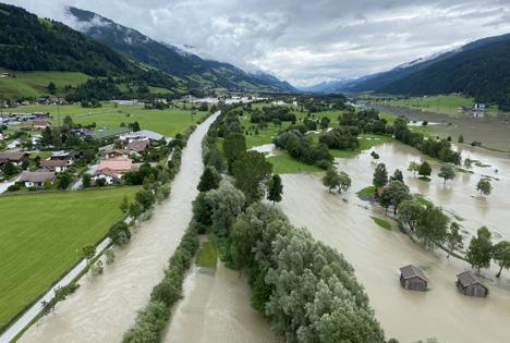 Überschwemmung im Oberpinzgau. Foto ©  Land Salzburg/Franz Wieser)