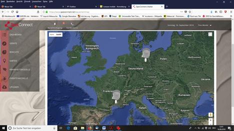 SpecConnect Screenshot 4 Geräte auf Karte. Foto © MMM tech support GmbH & Co. KG