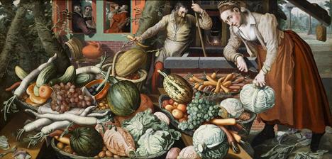 Pieter Aertsen, Obst- und Gemüsehandel, 1569, Hallwylska museet, Stockholm. Foto: Alte Pinakothek München