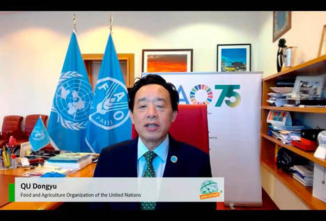 Generaldirektor der FAO, Qu Dongyu, redet zu dem virtuellen Podium des GFFA. Foto © FAO / Giuseppe Carotenuto