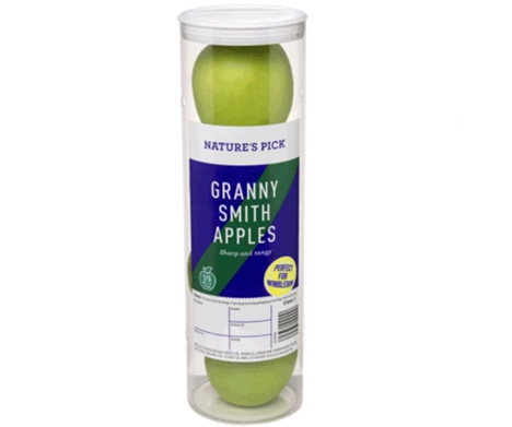 Die Verpackung für vier Granny-Smith-Äpfel wurde in Anlehnung an eine Packung Tennisbälle gestaltet. Foto © Aldi UK