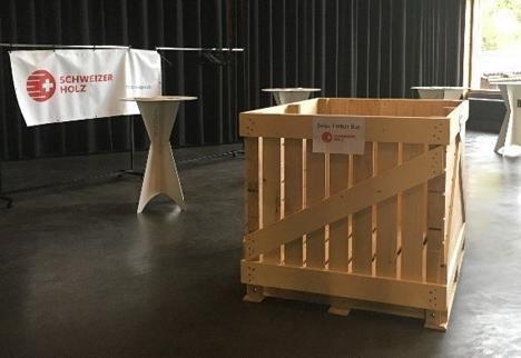 """Der Prototyp der """"Swiss Timber Box"""". Foto © Lignum Holzwirtschaft Zentralschweiz"""