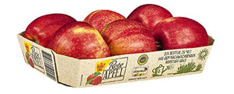 Deutschlandweit im Handel: Apfelverpackung mit Grasanteil. Foto © Netto Marken-Discount
