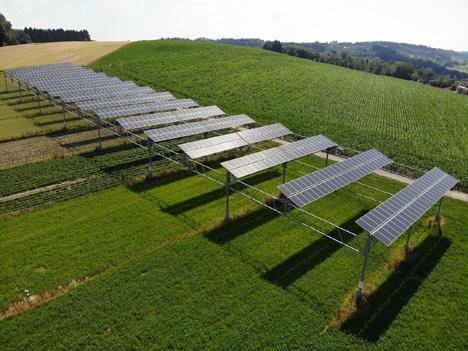 Die Agrophotovoltaik-Anlage in Heggelbach am Bodensee. Foto © BayWa r.e.