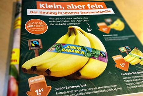 Ab 2020 sind die Junior-Bananen in allen Aldi Süd Filialen erhältlich. Foto © Aldi Süd / Faitrade Deutschland