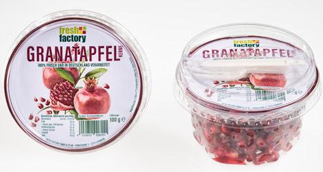 Fresh Factory Granatapfelkerne als 100-Gramm-Portion. Foto © Fresh Factory