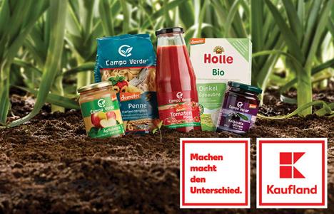 """Demeter-Produkte, Kaufland-Logo und Logo """"Machen macht den Unterschied"""". Foto © Kaufland"""