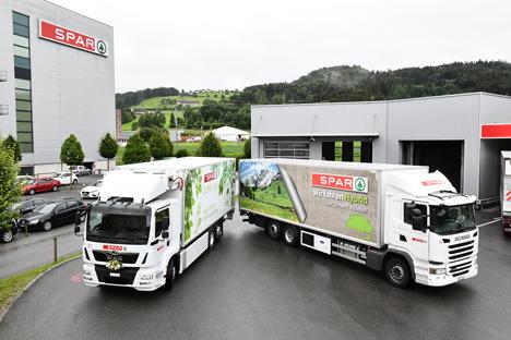 Hybrid- und elektronischer LKW von SPAR. Foto © SPAR Handels AG